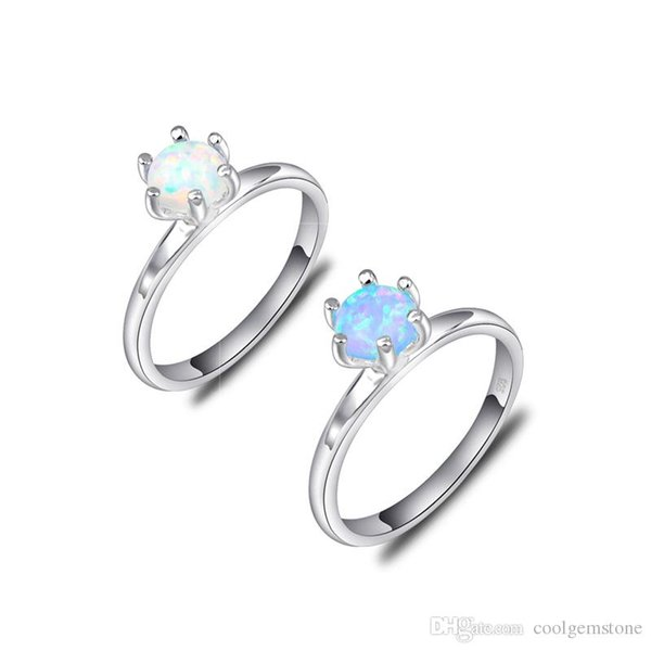 Luckyshine 12 Pcs/Lot Valentine's Day Gift Round Blue White Fire Opal Gemstone Ring 925 Sterling Silver Plated Wedding Ring Jewelry For Wome