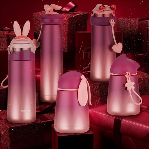 350 ML Coloré lapin botter Gradient En Acier Inoxydable Tasse Thermos Mignon Café Thermos Tasse Pour KidsAdul Voyage thermique tasses 4890
