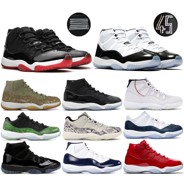 Concord 45 11s Men basketball Shoes Snake Navy Low Light Bone Pink Platinum Tint Space Jam 11 Designer Sport Trainer