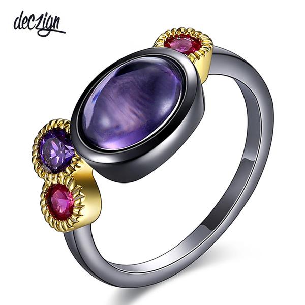 Deczign Premium Ring für Frauen Scharfe Farben Ovale und runde Form Zirkon Lünette Gun Gold Farbe Bleifrei Metall WA11527