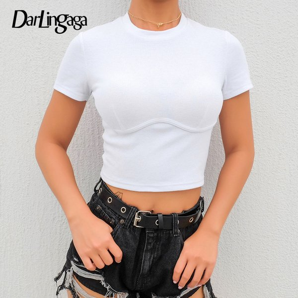 Darlingaga Cortadas Com Nervuras Bodycon Branco T shirt Mulheres Manga Curta Puro Colheita Tops Tees Roupas Básicas de Verão T-shirt 2019 Casual