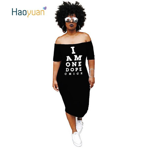 HAOYUAN Plus Size Sexy Dress Autumn Off Shoulder Slash Neck Short Sleeve Bodycon Dress Casual Letter Printed Party Women Dresses T5190608
