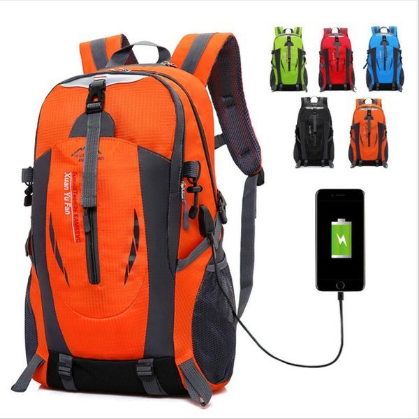 Free shipping USB Rechargeable Bag New Backpack Men Outdoor Mountaineering  Bag Female Sports Travel Mountain Camping Climbing 7f9c5d2017072