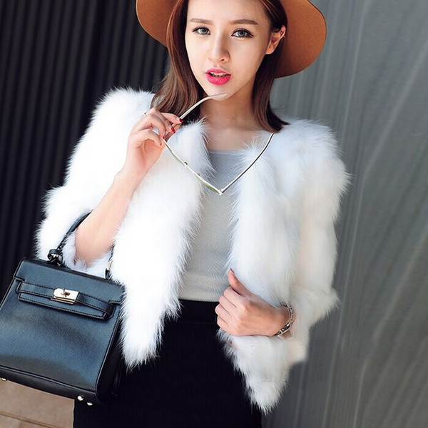 Luxus Frauen Faux Pelzmantel Jacken Frauen Winter Fox Pelzmantel Pelzigen Shaggy Mäntel schwarz Weiß Gefälschte Mäntel