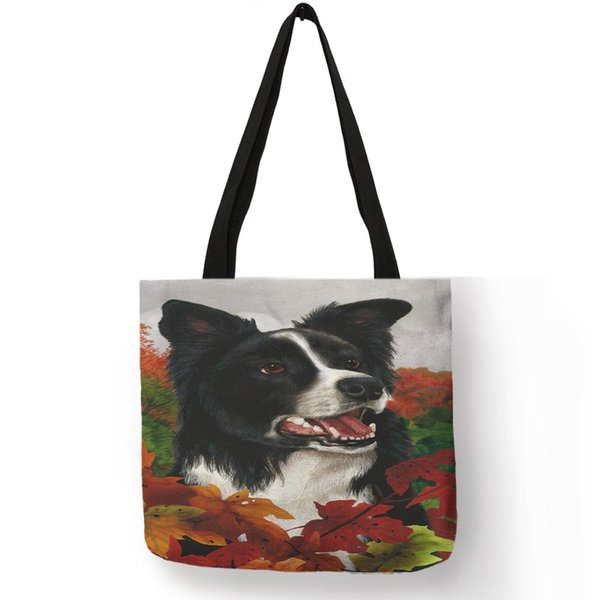 Popular Watercolor Collie Dog Print Tote Bag For Women Cute Handbag Shoulder Bags Large Capacity Reusable Shopping Diaper Bags