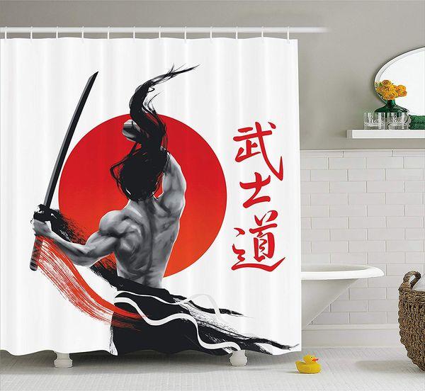 Samurai a Pratica con Muscoli e Katana Tenda da doccia per bagno giapponese Sun Asian Discipline