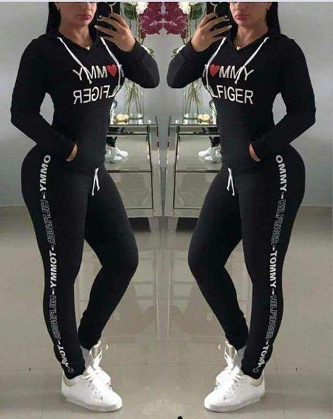 Brief Gedruckt Trainingsanzug Frauen Hoodie Hosen 2 teile / satz Casual Sports Outdoor Langarm Tops Jogger Kleidung Set OOA6586