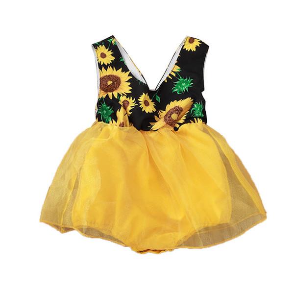 Bebek Kız Gazlı Bez Tulum Ayçiçeği Baskı V Yaka Kolsuz Tulumlar Bebek Tutu Elbise çocuk Günü Tulum