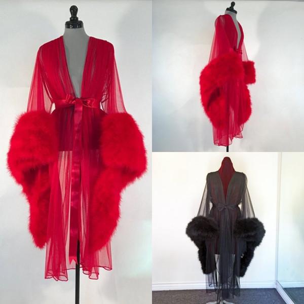 Womens Robe Fell Nachthemd Bademantel Nachtwäsche Feder Brautmantel mit Gürtel Rot Hochzeit Party Geschenke Brautjungfer Kleid