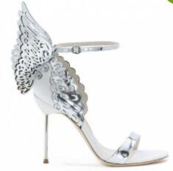 Sophia Webster Evangeline Anjo Asa Sandália Mais Couro Genuíno Bombas De Casamento Rosa Glitter Sapatos Mulheres Borboleta Sandálias Sapatos