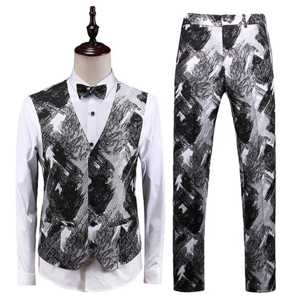 Outono preto e branco homens colete e calça magro design colete homens calça tamanho Ásia S M XL XXL XL XXL XXXL XXXXXL coletes mens