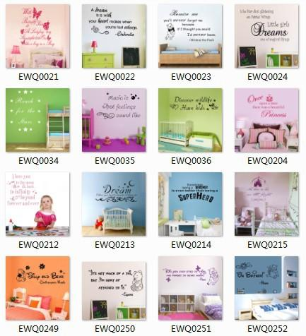 Wholesale 60x80cm - Mix order Wall Quotes Decal Words Lettering Saying Wall Decor Sticker Vinyl Wall Art Stickers free shipping