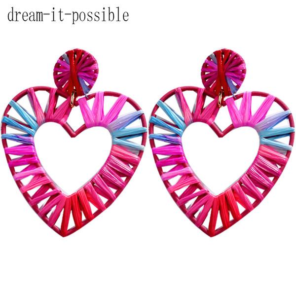 Dream-it-possible 2019 women Designer Luxury Cute Wedding Boho Star Korean Statement Bohemian Lafite grass nice heart earrings