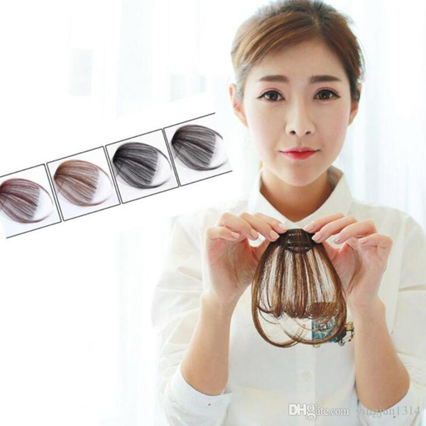 best selling New Fake Bangs Clip Hairpiece Black Brown Blonde Synthetic Bangs Hair Extensions For Women free shipping