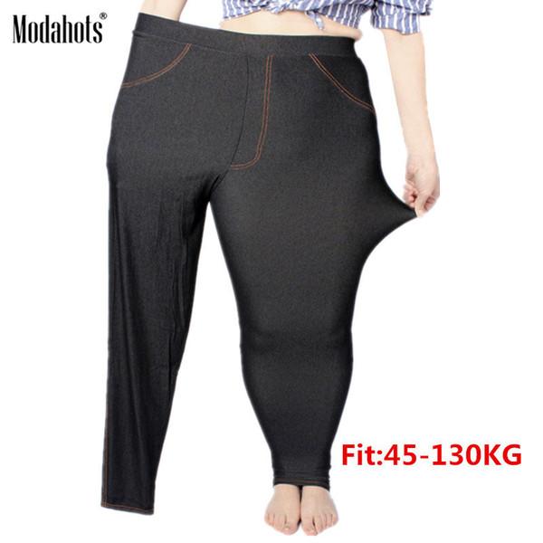Plus Size Women Leggings 5xl Faux Denim Jeans Jeggings Legging Large Black Stretch Skinny Pencil Pants Trousers 2019 Spring MX190714