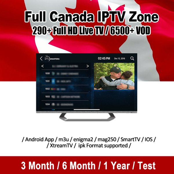 Canada IPTV Subscription With 290+ Full HD Live And 6000+ VOD 1/3/6/12 Month For Smart TV Abonnement Iptv Mag Box M3U Android TV Box