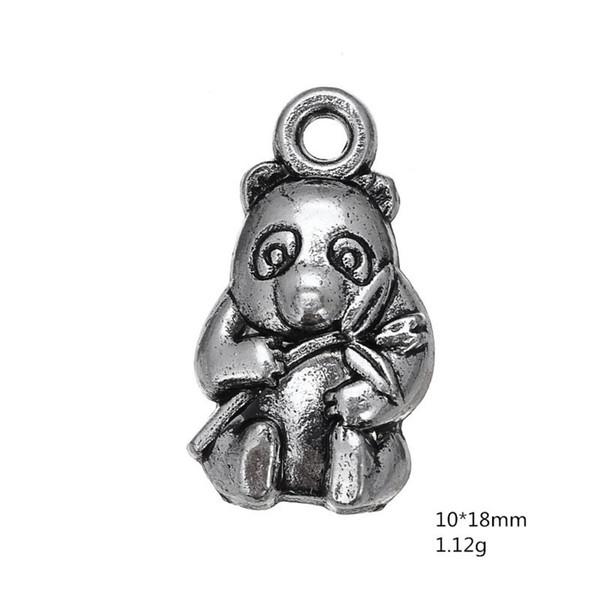 30pcs antique vintage argent tibétain animal Chine panda charmes métal pendent en alliage pendentifs pour collier bracelet boucle d'oreille bricolage fabrication de bijoux