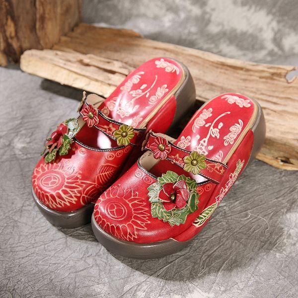 Neue LedersandalenRetro Hausschuhe mit dicken SohlenHochschuhe aus Leder mit hohem AbsatzLederschuheBlumenhausschuheHandgemachte Sandalen
