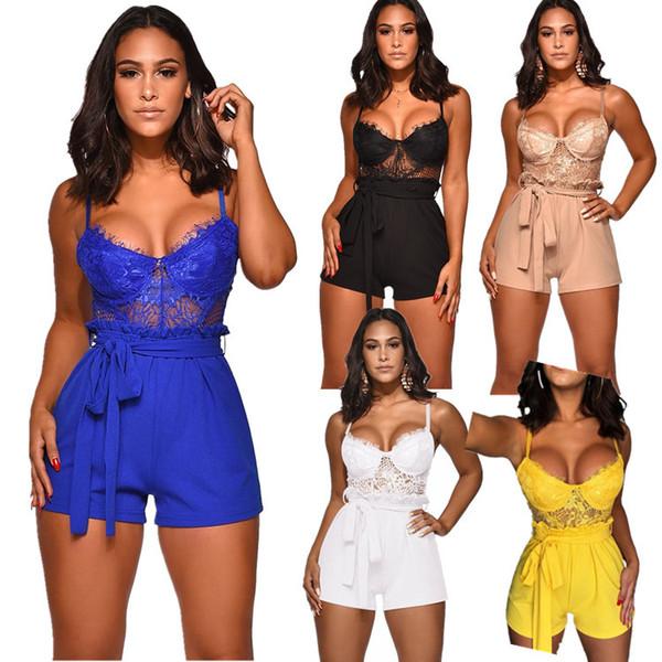 Mujeres de verano de la explosión del mono de las mujeres 2019 nueva marca de encaje Sling Sexy Jumpsuit Shorts Ladies Nightclub estilo Sexy ropa caliente venta