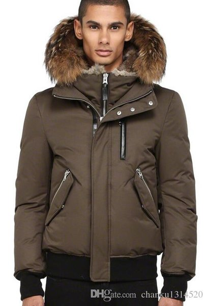 Men's Down jacket WINTER MAC-DIX-F4-A101 Down & Parkas Brand Real Raccoon Fur Collar White Duck Outerwear & Coats WITH FUR HOOD