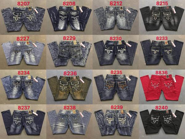 Hommes Robin Rock Revival Jeans Crystal Studs Denim Pants Designer Men Trousers taille 32-42 Nouveau populaire