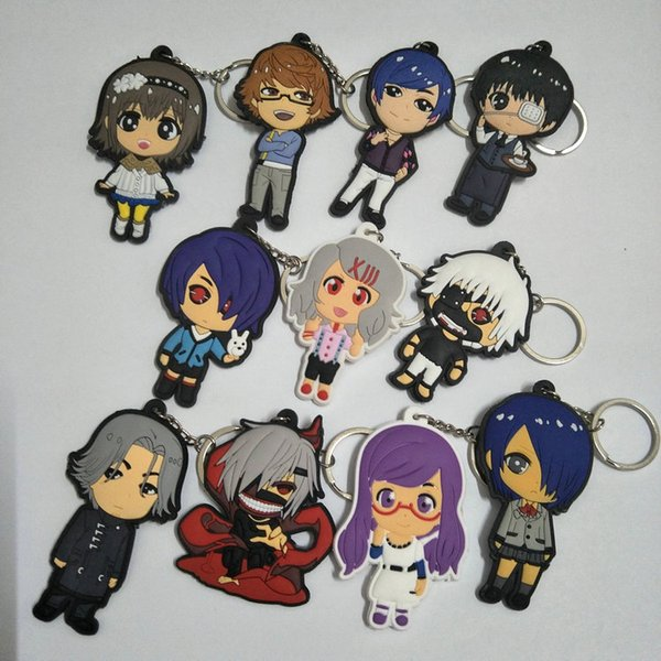 12 styles de porte-clés Anime Tokyo Ghoul Key Ring Jin Muyan souple en plastique pendentif sac pendentif en gros