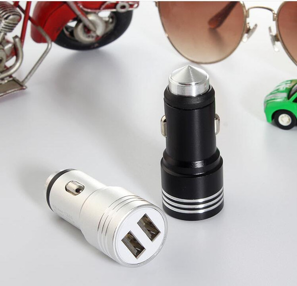 top popular Universal 3.1A Safety Hammer Aluminium Metal Dual USB Car Charger For Samsung xiaomi Android Phone 2 ports USB Output Fast Charge Adapter 2021
