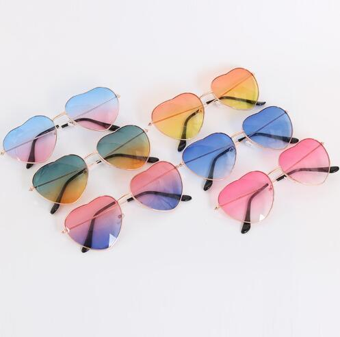 Top Quality CandyColor Sunglasses Heart Shades Glasses Gold Frame SunshadeGlass Woman/Man Best Gift With Free Shipping