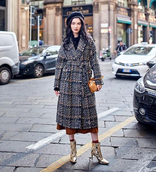 chic women plaid tweed coat 2018 fall winter elegant loose overcoat korean style belted coat d655