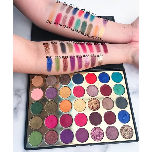 2019 neueste No Label Cosmetics Make-up Lidschatten Lidschatten-Palette 35 Farben Matte und Shimmer Lidschatten-Palette Make-up Lidschatten-Paletten