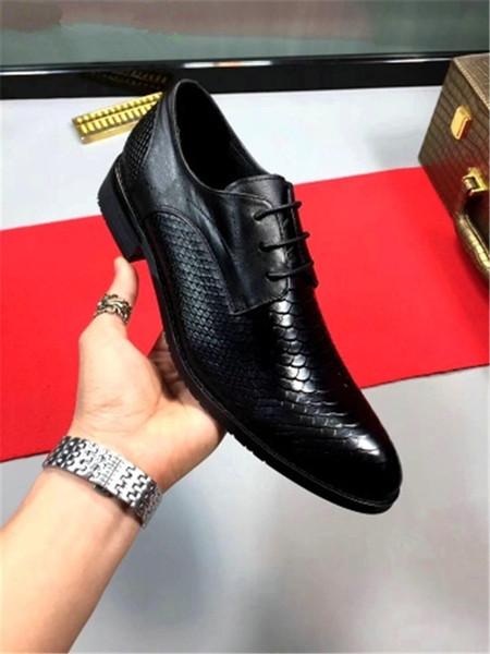 Sapatos de couro dos homens verão respirável sapatos casuais dos homens negros de negócios formais moda sapato médio salto A4