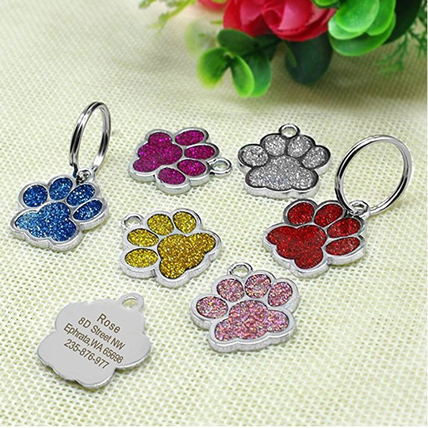 Glitter Paw Shaped Puppy Dog Tag 7 Colors Cat Pet Name Brand ID Card Wholesale