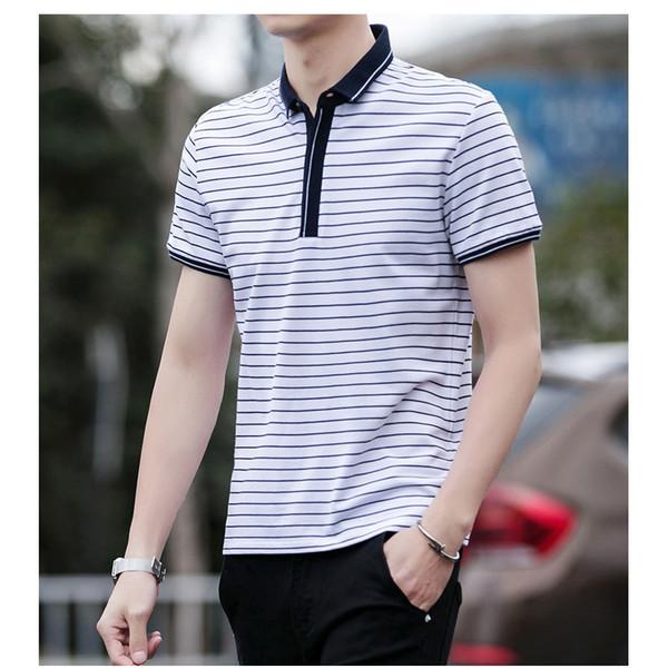 Mode Hommes Polos 2019 Eté Nouveau manches courtes T-shirt avec Rayé Impression hommes Explosion Casual Shirt Hommes Polos Marque Vêtements en gros