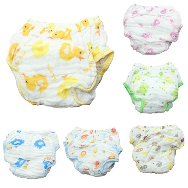 Fashion Animal Watertight Diaper Pants Baby Infant 6 Layers Gauze Breathable Underwear