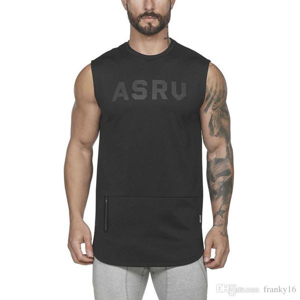 2019 Spring Summer Men's Fitness Vest ASRU Letters Print Sleeveless T Shirt For Men Sports Tank Tops Size M-3XL