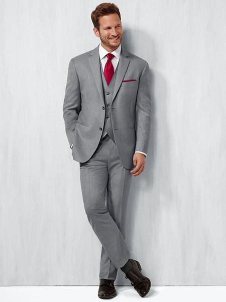 Classic Design Grey Groom Tuxedos Notchl Lapel Two Button Groomsmen Mens Wedding Dress Excellent Man Suits(Jacket+Pants+Vest+Tie) 357
