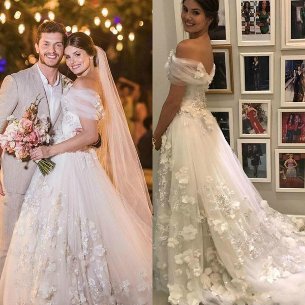 Beautiful 3D Floral Applique Wedding Dresses A-Line Bohemian Boho Off Shoulder Tulle Country Style Bride Dress Ball Gowns Vestido de novia