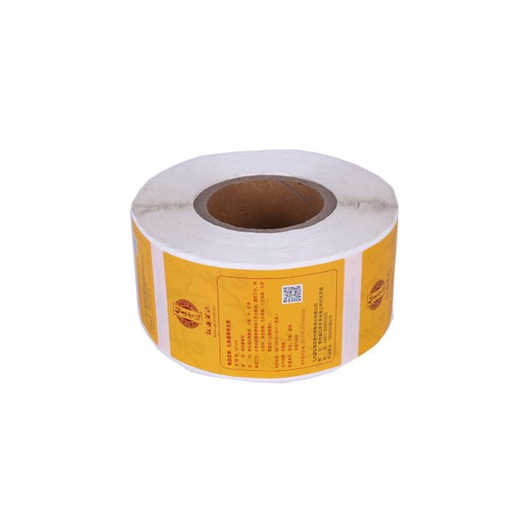 Custom matte roll orange rectangle package adhesive sticker on package waterproof vinyl color sticker label offer printing label