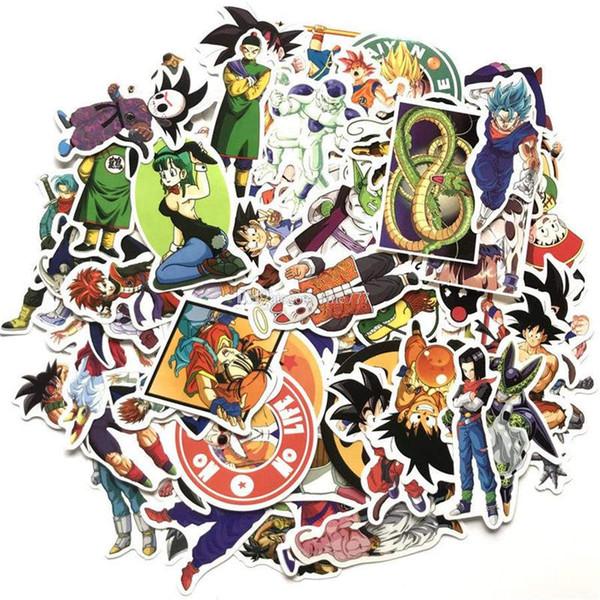 100 pçs / set New Dragon Ball Z Etiqueta Graffiti Personalidade Bagagem DIY adesivos de parede PVC adesivos de parede saco de acessórios para crianças brinquedos
