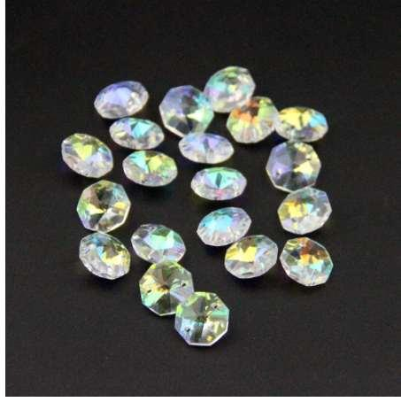 50pcs 14mm 2 Holes Octagon Crystal Glass Prism Decoration Beads Lots Deep Blue
