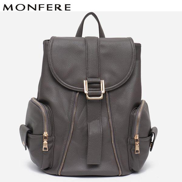 MONFERE Brand New Vegan Leather Backpack Girls School Knapsack Side Pocket Female Flap Belt Large Daily Zip Shoulder Bag Handbag