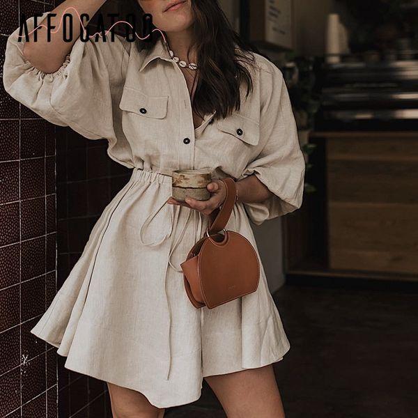 Affogatoo Vintage elagant mini abito camicia donna Casual lanterna manica abito corto Turndown colletto pizzo su lino abiti femminili