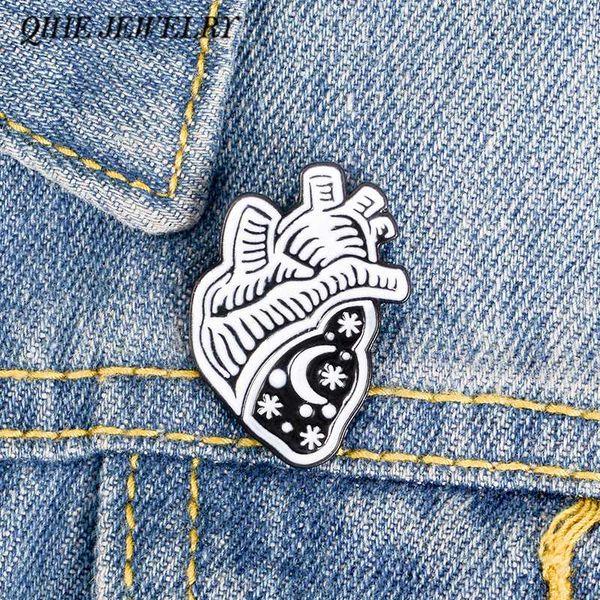 QIHE JEWELRY Anatomical Heart Enamel pins Human Heart Anatomy Brooches Black Badges Brooches for men women Nurse Doctor