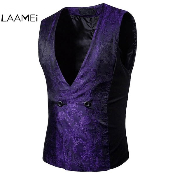 Laamei Brand Patchwork Solid Wedding Suit Vests Men Fashion Obscure Design Single Button Vest Male Dress Suit Vests Formal Top