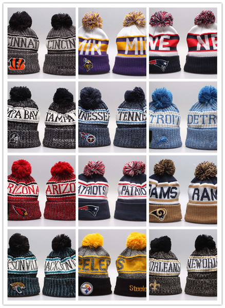 2019 neueste Winter Beanie Strickmützen Sport Teams Baseball Fußball Basketball Beanies Caps Frauen Männer Pom Fashion Winter Top Caps