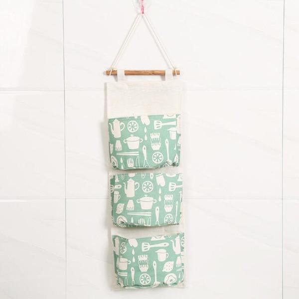Kitchen Utensils Cotton Linen Door Hanging Bag Three Pockets Wall Mounted Storage Bag Sundries Organizer Pouch Waterproof Storage Bag