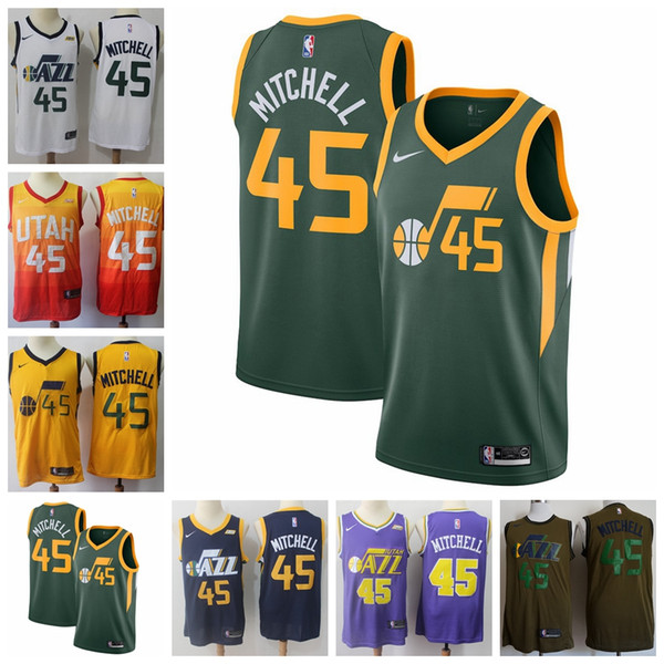 2019 New The City Edition Orange 45 Donovan Mitchell Jersey Stitched Mens  Jazz Donovan Mitchell Basketball Jerseys Yellow Purple White 9a9cb2aca
