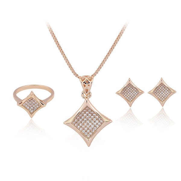 HC Fashion Gold Color Jewelry Sets for Kids Children Gifts Cute Geometric Star Drop Crystal Necklace Set for Girl's Party Gift F