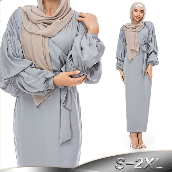 2019 Long Lace Mesh Kaftan Abaya Dubai Turkish Islamic Hijab Muslim Dress Abayas For Women Caftan Qatar UAE Jilbab Robe Clothing