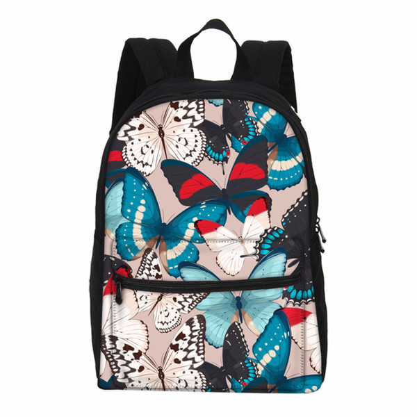 VEEVANV Fashion Butterfly Floral Canvas Women Backpacks Girls Small Laptop Shoulder Bags Casual Travel Rucksuck School Bookbags